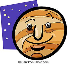 pianeta, divertente, giove, cartone animato, illustrazione