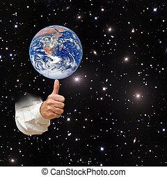 pianeta, elementi, immagine, terra, nasa, ammobiliato, finger., questo