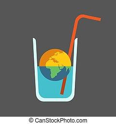 pianeta, essiccamento, globale, planet., straw., vetro acqua, morto, mezzo, terra, issue:, vuoto, fuori