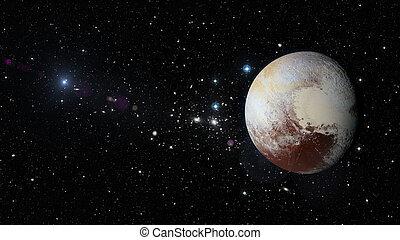pianeta, esterno, plutone, space.