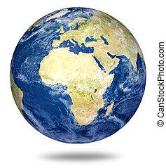 pianeta, europeo, terra, africa, -, bianco
