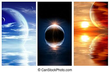 pianeta, fantasia, bandiere, set, paesaggio