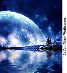 pianeta, fantasia, paesaggio