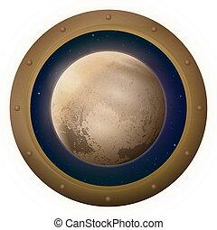 pianeta, finestra, plutone, spazio