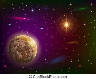 pianeta, fondo, spazio, sole