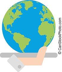 pianeta, globale, vettore, mano