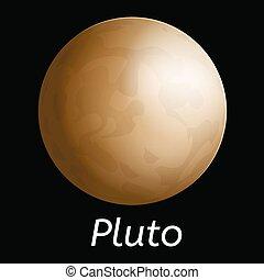 pianeta, icona, stile, plutone, realistico