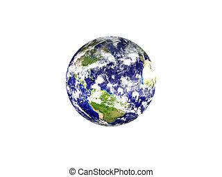 pianeta, -, isolato, america, fondo, terra, bianco