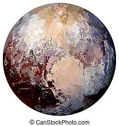 pianeta, isolato, fondo, plutone