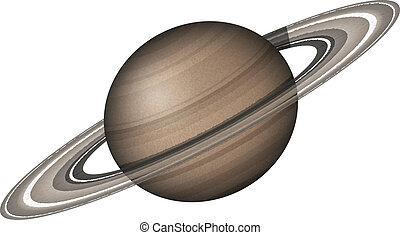 pianeta, isolato, saturno, bianco