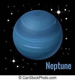 pianeta, isometrico, illustration., nettuno, sistema, alto, vettore, planets., solare, qualità, 3d