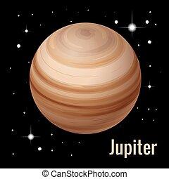 pianeta, isometrico, illustration., sistema, alto, vettore, giove, planets., solare, qualità, 3d