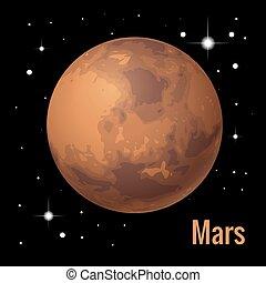 pianeta, isometrico, illustration., sistema, alto, vettore, planets., solare, marte, qualità, 3d