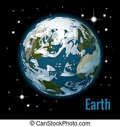 pianeta, isometrico, nubi, illustration., un po', sistema, alto, vettore, planets., solare, terra, qualità, 3d