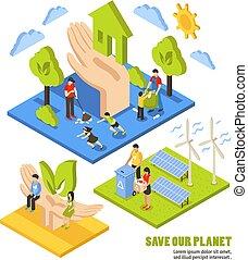 pianeta, isometrico, risparmio, composizione