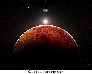 pianeta, luna, illustrazione, marte