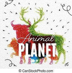 pianeta, manifesto, aggrovigliato, animale