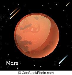 pianeta, marte, illustrazione, vettore, 3d
