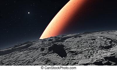 pianeta, marte, sfondo rosso, deimos