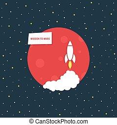pianeta, missione, rosso, marte