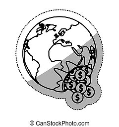 pianeta, monete, disegno, isolato