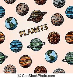 pianeta, nettuno, modello, -, mano, marte, mercurio, vettore, pluto., venere, disegnato, urano, saturno, giove, terra