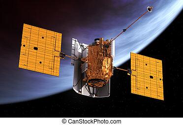 pianeta, orbitare, spazio, interplanetario, stazione