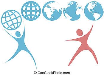 pianeta, persone, globo, su, simboli, swoosh, terra, presa