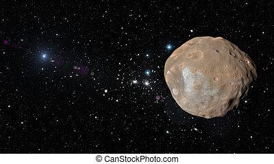pianeta, phobos, esterno, space.