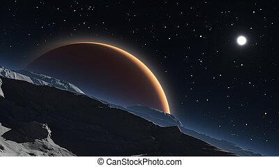 pianeta, phobos, sfondo rosso, marte