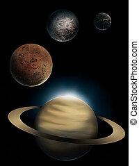 pianeta, pittura, digitale, saturno