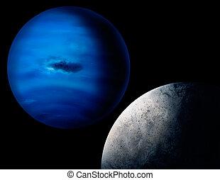 pianeta, pittura, nettuno, digitale