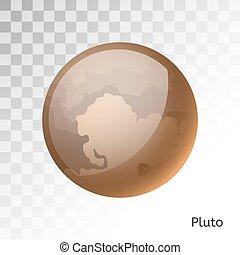 pianeta, plutone, illustrazione, vettore, 3d