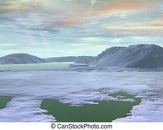 pianeta, polare, regione, fractal