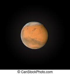 pianeta, realistico, marte, illustrazione, vettore