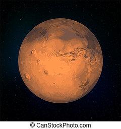 pianeta, realistico, marte