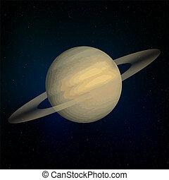 pianeta, realistico, saturno