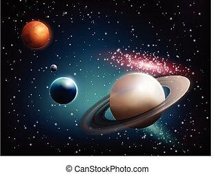 pianeta, realistico, set, composizione