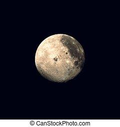 pianeta, realistico, vettore, illustrazione, luna