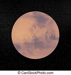 pianeta, render, marte, -, 3d