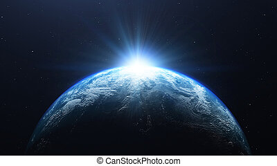 pianeta, render, spazio, 3d, sole, terra, osservato