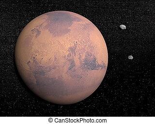 pianeta, satelliti, render, marte, deimos, -, 3d, phobos