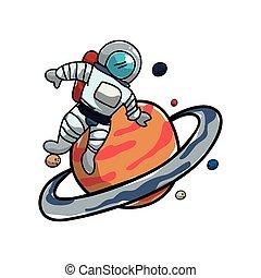 pianeta, saturno, astronauta