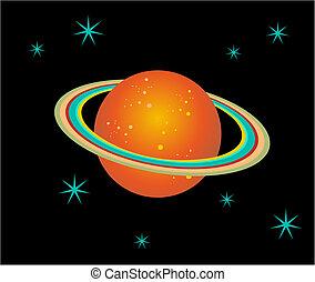 pianeta, saturno, illustrazione