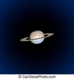 pianeta, saturno, realistico, illustrazione, vettore