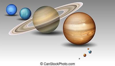 pianeta, set, sistema, solare