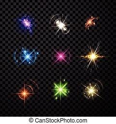 pianeta, set, stelle, fondo.