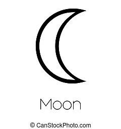 pianeta, simboli, -, luna