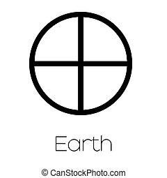 pianeta, simboli, -, terra