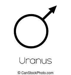 pianeta, simboli, -, urano